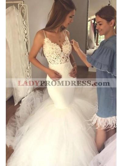 2021 Charming Mermaid Sweetheart Spaghetti Straps Long Backless Tulle Wedding Dresses