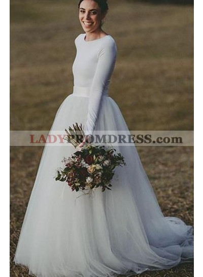2019 New Arrival A Line Long Sleeves Tulle Wedding Dresses