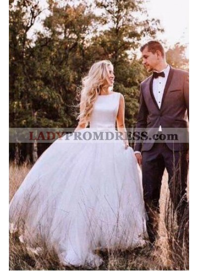 2021 New Arrival Sleeveless Ball Gown Backless Tulle Wedding Dresses