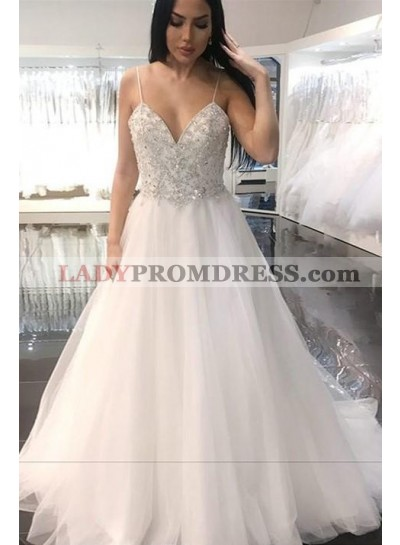 2021 New Arrival A Line Sweetheart Beaded Tulle Spaghetti Straps Backless Wedding Dresses