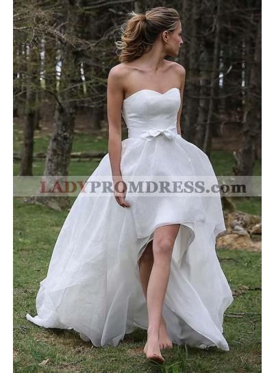 Cute A Line Organza High Low Sweetheart Bowknot Wedding Dresses