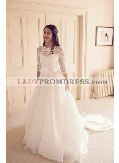 Elegant A Line Organza Long Sleeves Lace Long Sweetheart Wedding Dresses With Belt 2021