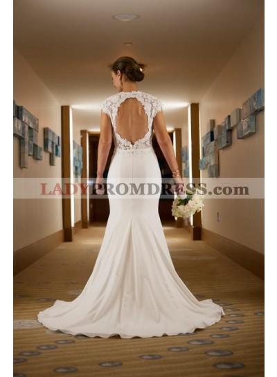2020 Classic Sheath Elastic Satin Backless Lace Capped Sleeves Wedding Dresses