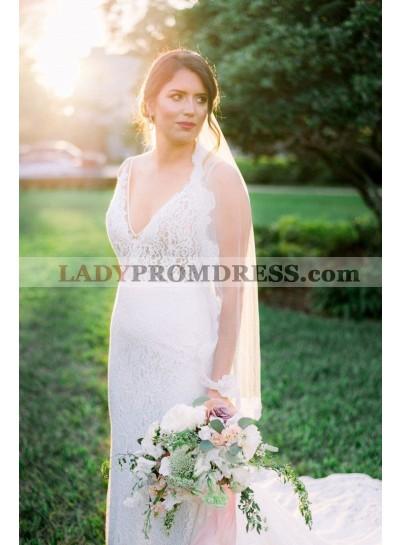 Amazing V Neck Sheath Backless Lace Wedding Dresses 2021