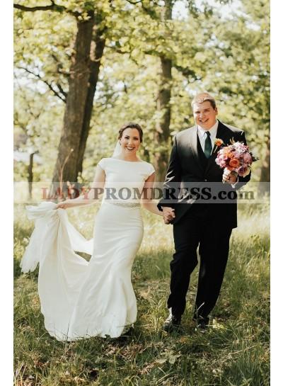 2021 Charming Satin Sheath Capped Sleeves Long Ivory Wedding Dresses