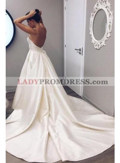 2020 Simple A Line Sweetheart Beige Satin Backless Long Wedding Dresses