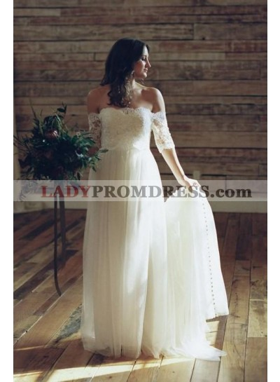2021 New A Line Tulle Off Shoulder Long Sleeves Lace Floor Length Wedding Dresses