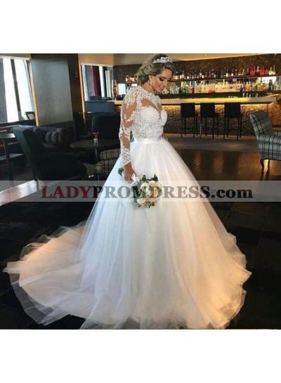 2020 Elegant A Line Tulle Long Sleeves Sweetheart Wedding Dresses