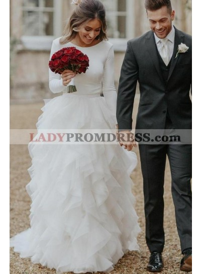 2020 Elegant A Line Long Sleeves Crew Neck White Tulle Layered Pleated Backless Wedding Dresses