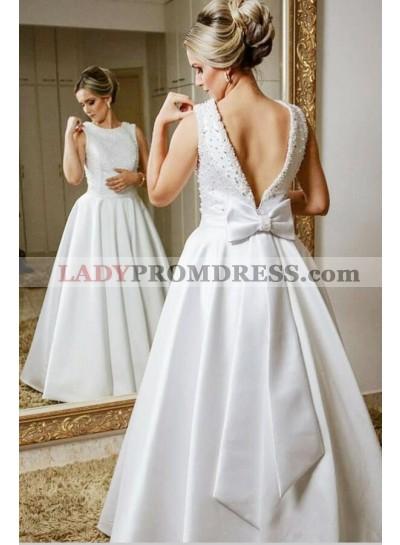 Classic Satin A Line Backless Bowknot Beaded Floor Length Wedding Dresses 2021