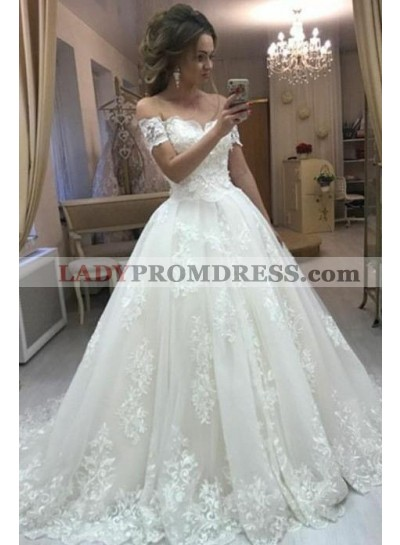 A Line Off Shoulder Lace Long Ivory Sweetheart Wedding Dresses 2021 With Short Sleeves