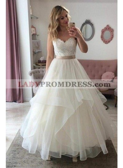 Elegant A Line Sweetheart Organza Ivory Lace Wedding Dresses With Belt 2021