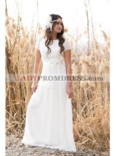 Cheap A Line Chiffon Short Sleeves Floor Length Outdoor Wedding Dresses