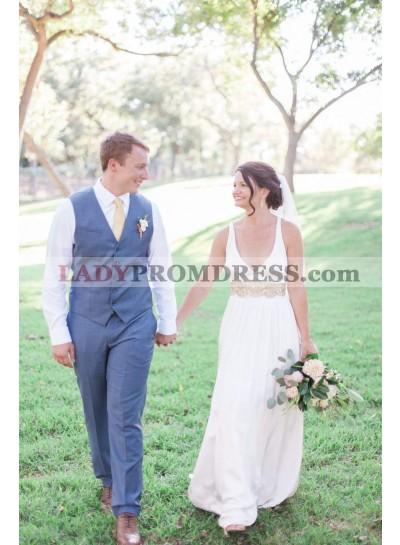 2021 Cheap A Line Deep V Neck Backless Beaded Satin Wedding Dresses