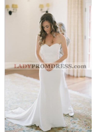 Elegant Sweetheart Sheath Long Train Sleeveless Wedding Dresses 2021