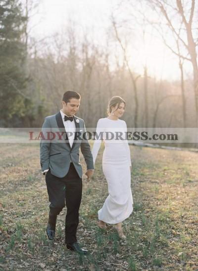 2021 Classic Sheath Backless Long Sleeves Simple Wedding Dresses