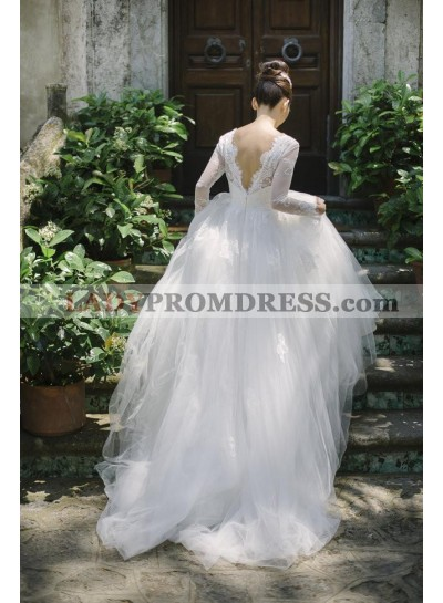 2021 New Arrival A Line Tulle Sweetheart Long Sleeves Backless Wedding Dresses
