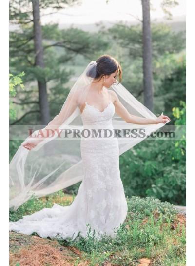 Charming Sheath Sweetheart Spaghetti Straps Lace Long Backless Wedding Dresses 2021