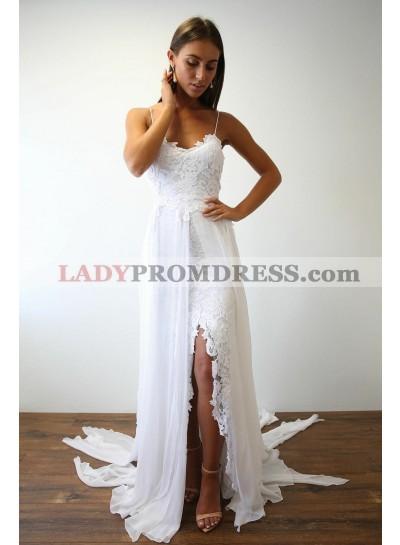 Cheap A Line Chiffon High Low Lace Spaghetti Straps Beach Wedding Dresses