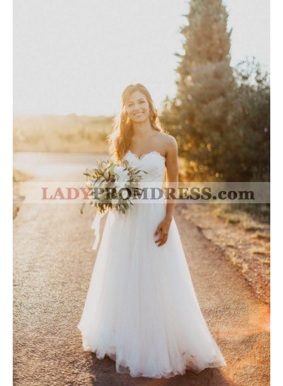 Elegant A Line Sweetheart Lace Tulle Floor Length Wedding Dresses 2020