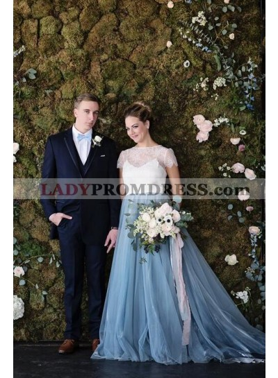 2020 New Arrival A Line Tulle White With Blue Capped Sleeves Lace Wedding Dresses