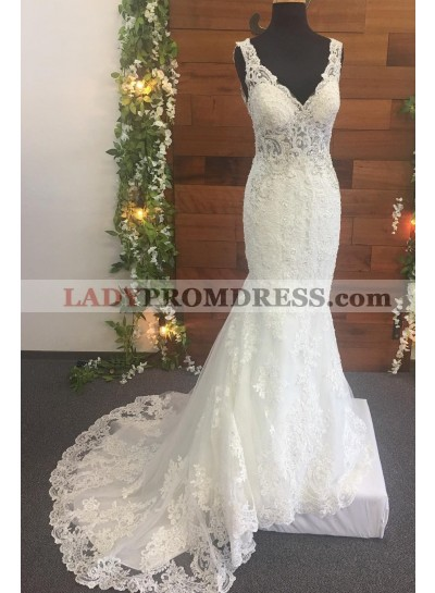 2021 Mermaid Lace V Neck Backless Long Ivory Wedding Dresses