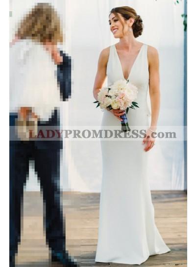 2021 High Quality Sheath Deep V Neck Satin Pleated Wedding Dresses