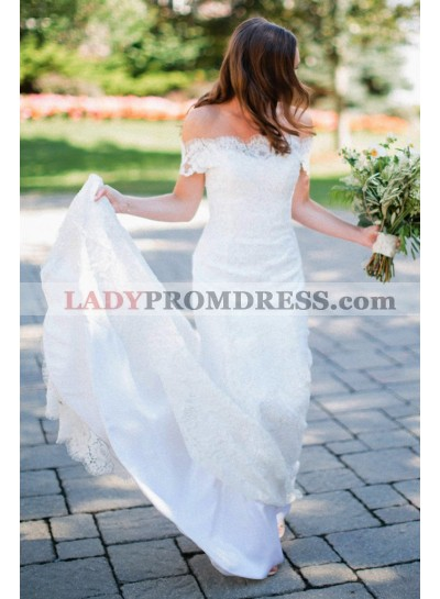 2020 Elegant Off Shoulder Long Train Ivory Lace Sheath Wedding Dresses