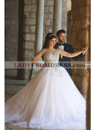 2020 Tulle Beaded Half Sleeves Sweetheart Ball Gown Wedding Dresses