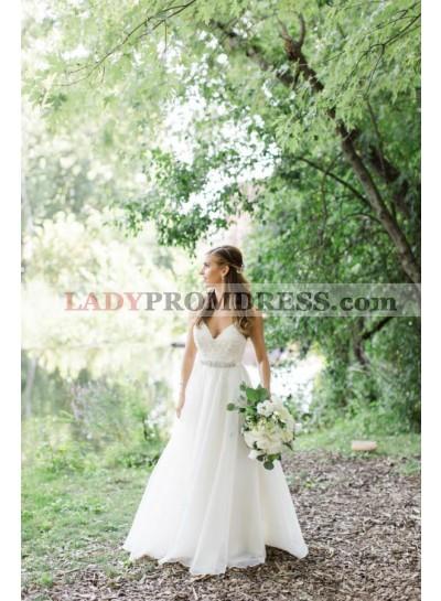 2021 Elegant A Line Chiffon Sweetheart Floor Length Beaded Wedding Dresses