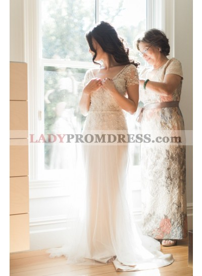 Charming V Neck Sheath Ivory Capped Sleeves Beaded Tulle Wedding Dresses 2021
