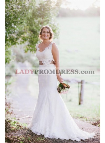 2021 Elegant Sweetheart Mermaid White Lace Wedding Dresses With Belt