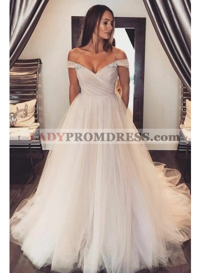 2021 Newly A Line Tulle Off Shoulder Sweetheart Wedding Dresses