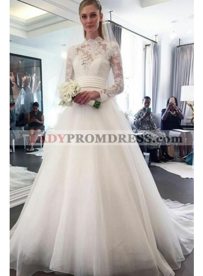 Elegant A Line Organza Long Sleeves High Neck Lace Wedding Dresses 2020