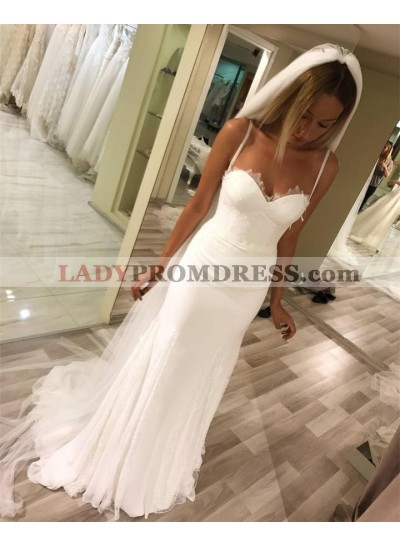 2021 Newly Sheath White Floor Length Chiffon Sweetheart Spaghetti Straps Wedding Dresses