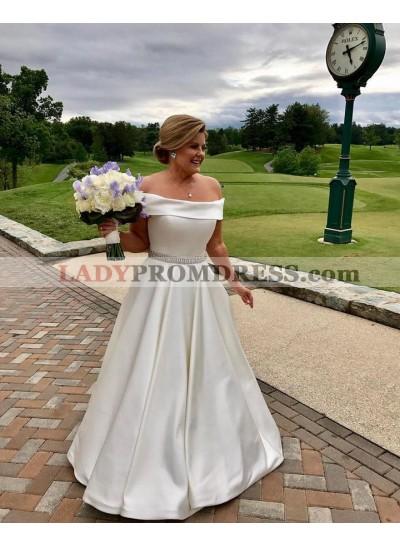 2021 Cheap A Line Satin Off Shoulder A Line Beaded Plus Size Wedding Dresses