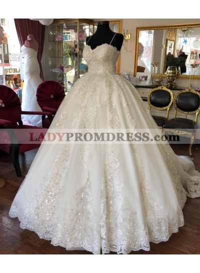 2021 Newly Sweetheart Spaghetti Straps Lace Long Ball Gown Wedding Dresses