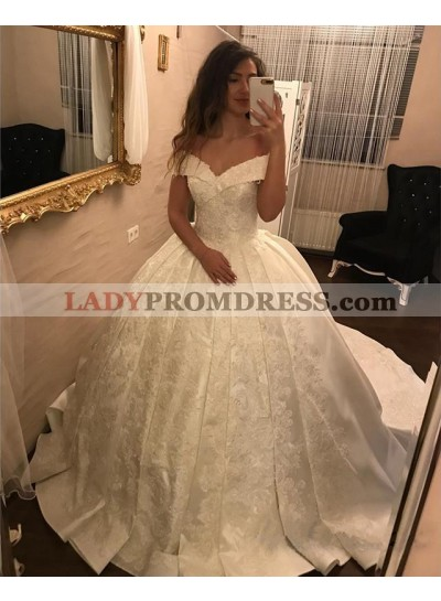 2021 New Arrival Off Shoulder Sweetheart Satin Ivory Ball Gown Wedding Dresses