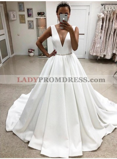 2021 A Line Elegant Deep V Neck White Satin Long Wedding Dresses