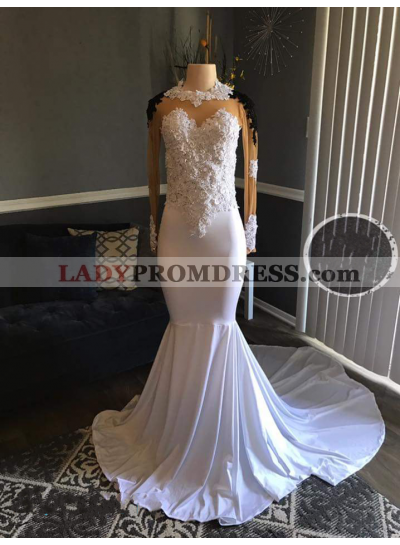 White Mermaid Long Sleeves Elastic Satin Appliques Long Prom Dresses
