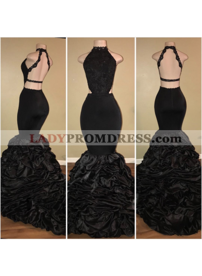 Sexy Black Backless Mermaid Ruffles Tiered African Long Lace Prom Dresses 2021