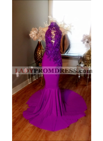 New Arrival Mermaid Fuchsia With Appliques High Neck Backless Long Prom Dresses