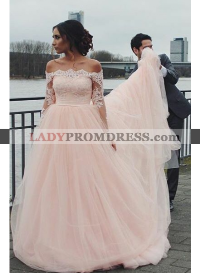 2021 Pink A Line Off Shoulder Long Sleeves Long Tulle Wedding Dresses