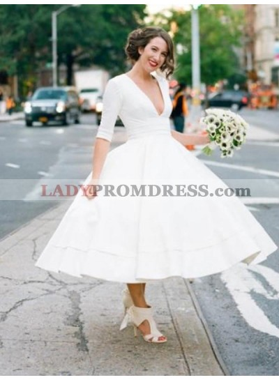 Elegant A Line White Tea Length Deep V Neck Long Sleeves Short Wedding Dresses
