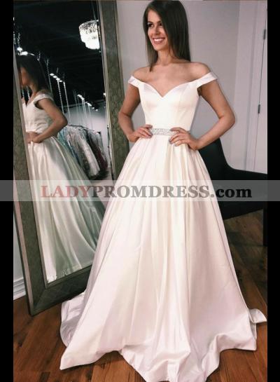2021 Elegant A Line Satin Off Shoulder Sweetheart Wedding Dresses