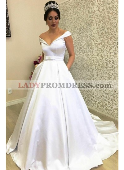 Classic New Arrival A Line Satin Off Shoulder Sweetheart Ivory Bowknot Wedding Dresses 2021