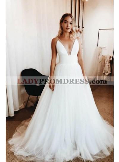 Elegant A Line Deep V Neck Ivory Tulle Long 2021 Wedding Dresses