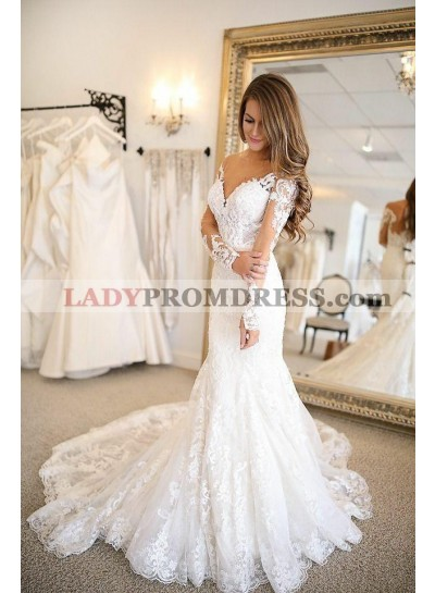 Sexy Mermaid Long Sleeves Lace Sweetheart 2020 Wedding Dresses