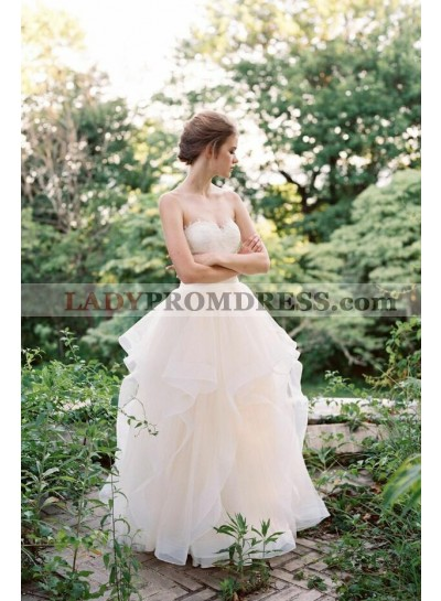 2021 Lovely A Line Ruffles Sweetheart Tulle Floor Length Wedding Dresses
