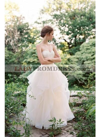 2021 Lovely A Line Ruffles Sweetheart Tulle Floor Length Wedding Dresses